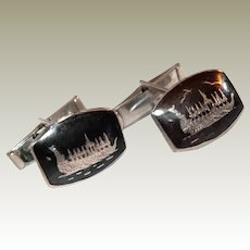 Sterling Etched Viking Ship Cufflinks