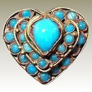 Chinese Tibet Turquoise Glass Heart Ring