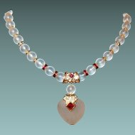 Moonstone Heart Necklace Red Rhinestone Rondelle Bead Spacers