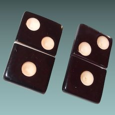 Early Plastic Black Domino Clip Earrings