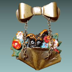 Sweet Easter Flower Basket Pin with Doggie Poking Out Hangs from Bow