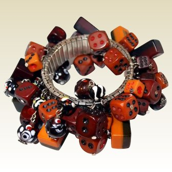 Early Plastic Dice Expansion Bracelet with Mahjong Charms