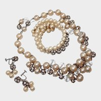 Dripping Faux Pearl Rhinestone Bead Set Necklace Bracelet Earrings