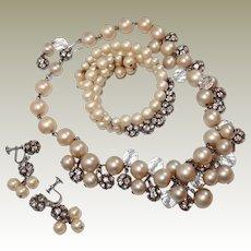 Dripping Faux Pearl Rhinestone Bead Set Necklace Bracelet Earrings