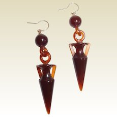 Neo Etruscan Classic Revival Amphora Earrings 14kt Gold Hooks