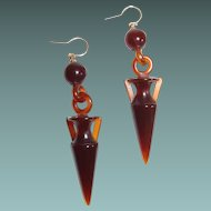 Neo Etruscan Classic Revival Amphora Faux Tortoiseshell Earrings 14kt Gold Hooks
