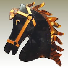 Lea Stein Paris Horse Head in Full Gallop