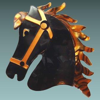 Lea Stein Paris Horse Head in Full Gallop