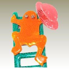 Rare Lea Stein Paris Orange Frog up Ladder