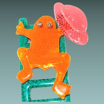Rare Lea Stein Paris Orange Frog up Ladder