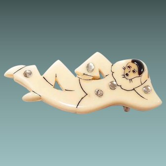 French Galalith Pierrot Clown Early Plastic Pin