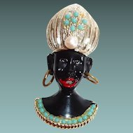 Blackamoor Pin, Turban, Hoop Earrings