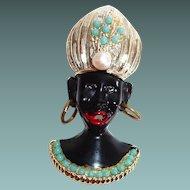 Blackamoor Pin, Turban, Hoop Earrings