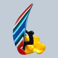 Lea Stein Wind Surfer Pin with Bright Colors