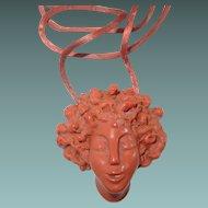 Coral Resin Cameo Necklace Silk Cord