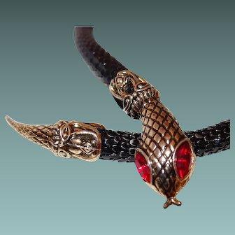 Black Enamel Mesh Snake Necklace Red Eyes
