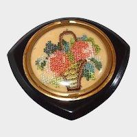 Bakelite Petitpoint Flower Basket Compact