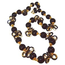 Long Black Bead Hoop Necklace Gold-tone Accents