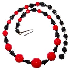 Red Facet Black Fancy Glass Beaded Necklace