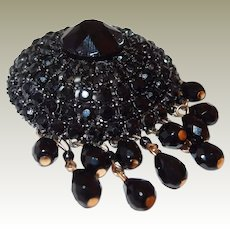 Domed Black Swarovski Crystal Dangle Brooch Rare R. Mandle