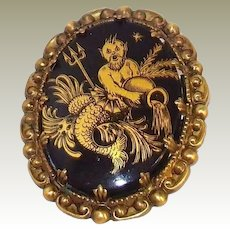 Rare King Neptune Marked Cameo Pin