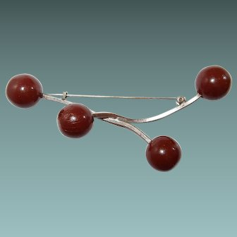 Brown Abstract Sphere Brooch