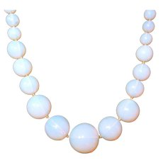 Opalescent Deco Hand Blown Glass Bead Necklace