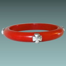 Unusual Red Bangle with Silver-tone Maltese Crosses