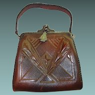 Arts and Crafts Steerhide Leather Cameo Handbag