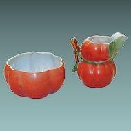 Czech Porcelain Pumpkin Sugar Creamer Set