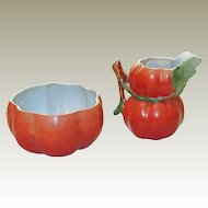 Czech Porcelain Pumpkin Sugar Creamer Set