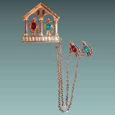 Weather Station Chatelaine Brooch Represent Good and Bad Weather