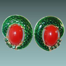 Crown Trifari L'Orient Green Enamel Carnelian Earrings