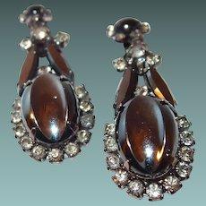 DE Juliana Scooped Out Hematite Drop Earrings RARE