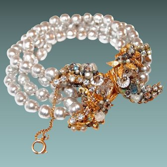 Miriam Haskell Baroque Pearl Bracelet Horseshoe Clasp