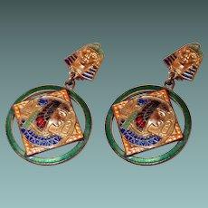 Rare Enamel Egyptian Revival Drop Earrings