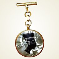 Cellulose Egyptian Pharaoh Drop Brooch