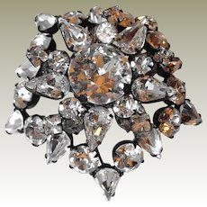 SCHREINER New York Brooch Atop a Brooch Crystal Stones