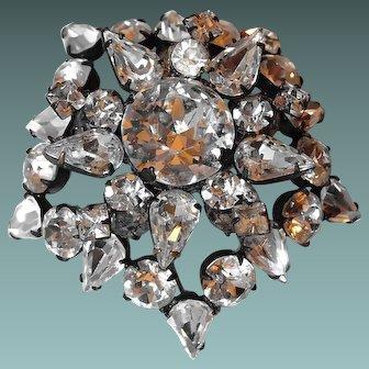 SCHREINER New York Brooch Atop a Brooch Crystal Stones