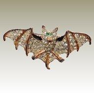 Rare Coro Bat Perfume Pin Rhodium Plate Paved Rhinestones