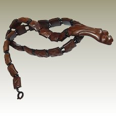 RARE 1800s Celluloid Textured Snake Necklace - Read History Description