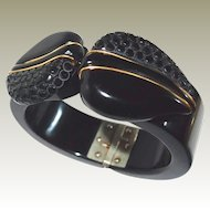 Black Bakelite Leaf Carved Bangle Inlaid Brass Strips