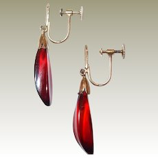 Red Amber 20/24k Gold Drop Earrings