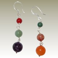 Semiprecious Stone Sterling Silver Hook Earrings