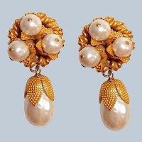Dominique Aurientis Paris Earrings Pearl Drop Haute Couture
