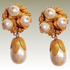 Dominique Aurientis Paris Earrings Pearl Drop Haute Couture