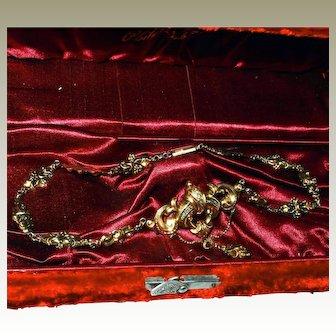 Victorian Antique Solid 14k Gold Necklace Repousse Chain