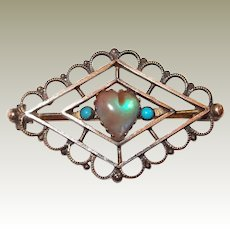 Gold Filled Saphiret Heart Pin Turquoise Accents