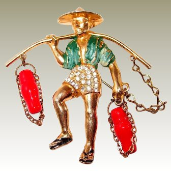 Enameled Chinese Water Boy Brooch