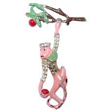 Pink Enamel Hanging Monkey Pin Apple Tree